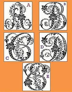 monogram pattern large antique letters floral decorative With antique alphabet letters