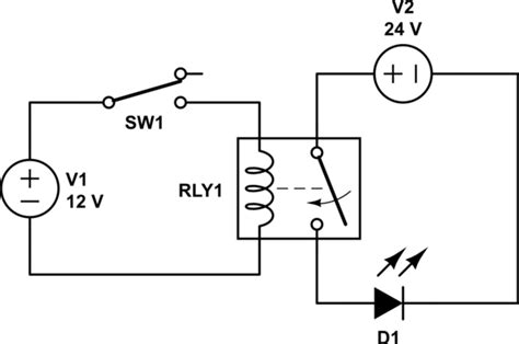 12v Relay Schematic Diagram by Relay With 12v Switch And 24v Load Electrical