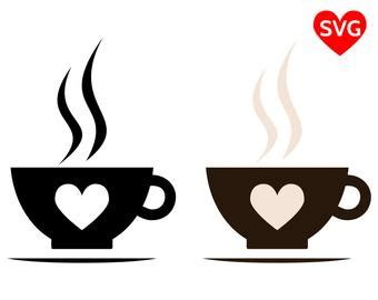 Vector monoline cute cup of coffee with heart. Cute SVG files & clipart - Perfect Cut SVG files