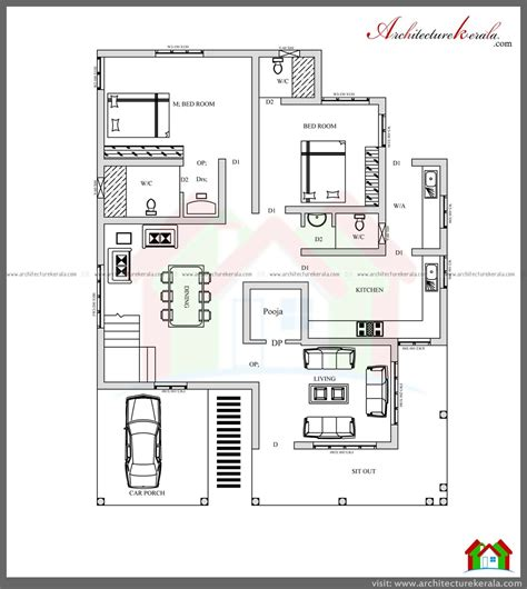 Kerala Home Design Architecture House Plans by 4 Bed House Plan With Pooja Room Architecture Kerala