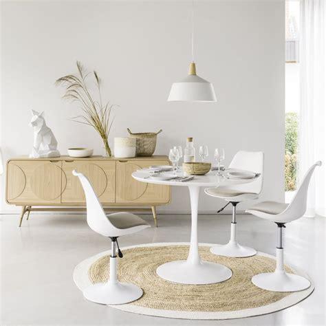 tapis rond tresse en jute contour blanc  gaya