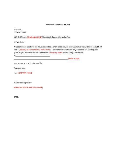 noc letter sample format  cover letter samples