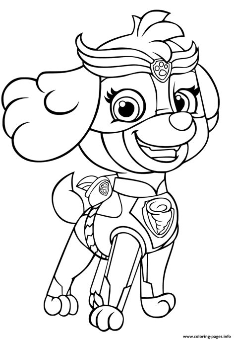 Print PAW Patrol Mighty Pups Skye for Girls coloring pages
