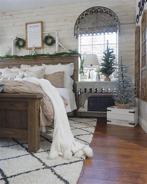rustic christmas bedroom farmhouse bed farmhouse