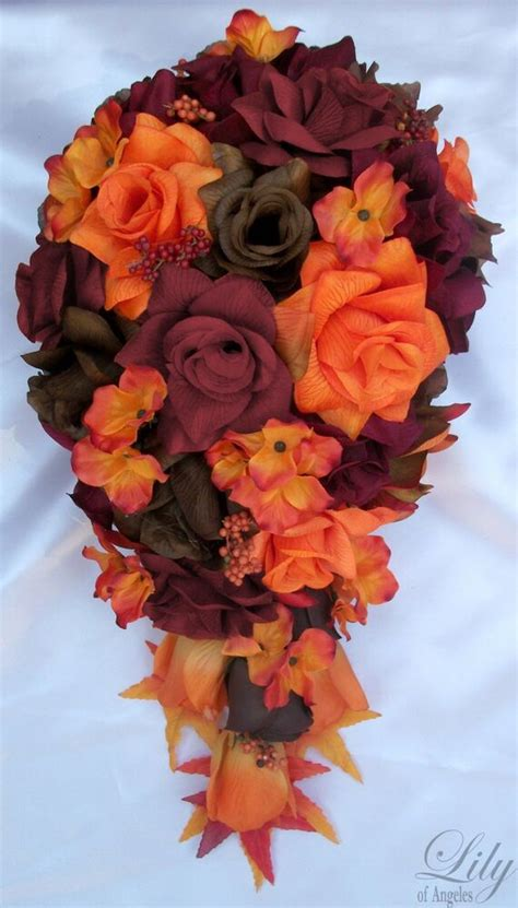 pcs package wedding bridal bouquet silk flowers fall