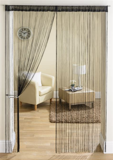 String Curtains by Plain Black String Curtain From Net Curtains Direct