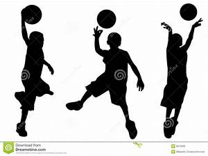 Silhouette Of Boy Playing Basketball Stock Illustration ...
