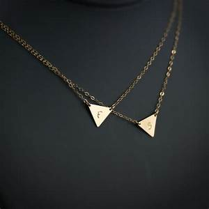double layered initial necklace two triangle initials With double letter necklace