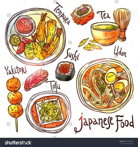 illustration cuisine food watercolor illustration japanese