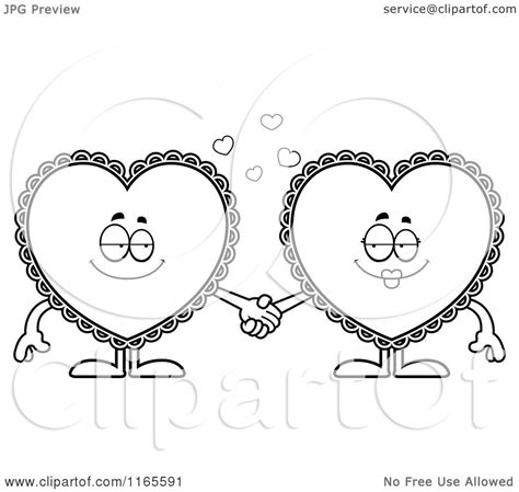 cartoon clipart  doily hearts holding hands vector outlined coloring page  cory thoman