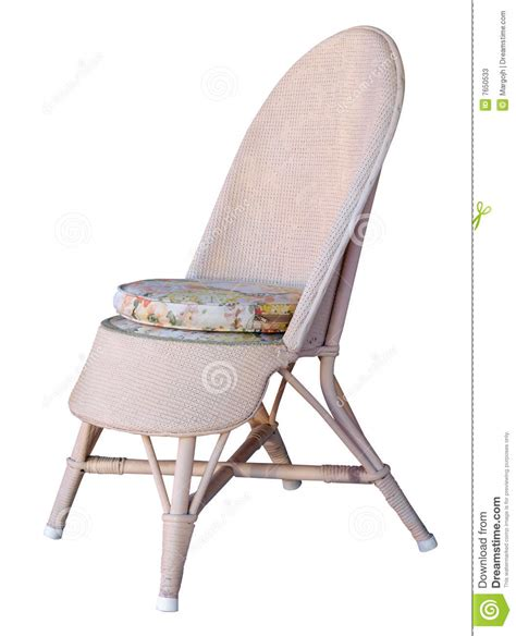 chair caning free pink chair with floral cushion stock photos image