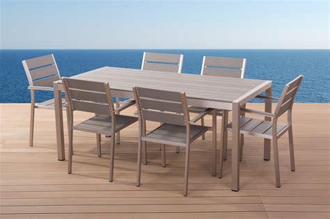 chaises de table beliani aluminium meuble de jardin vernio polywood