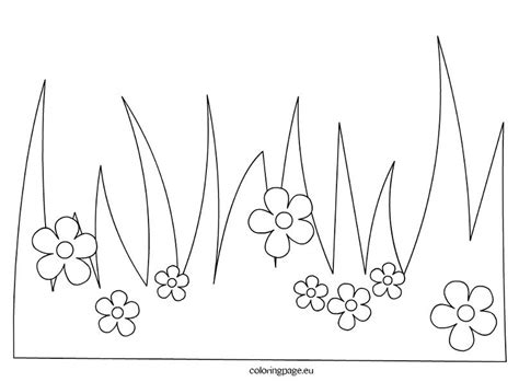Coloring Grass by Grass With Flowers Coloring Page