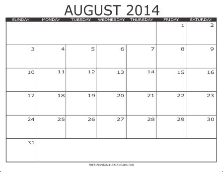 August 2014 Calendar Template Costumepartyrun