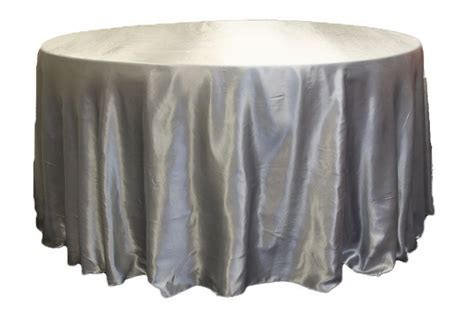 "Satin 132"" Round Tablecloth Silver 120 round"