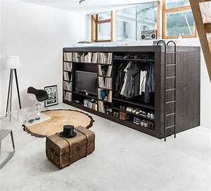Living cube space saving loft storage unit for studios for Studio apartment storage