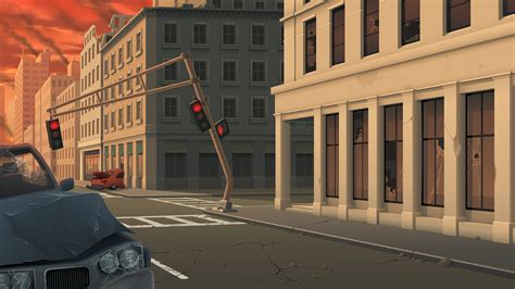 city street  attack background art  zeedox