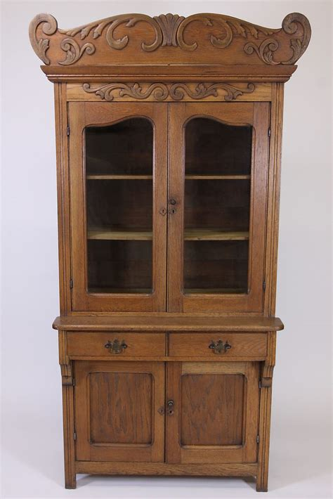 Decorative Cupboards by Antique Oak Step Back Cupboard China Cabinet With