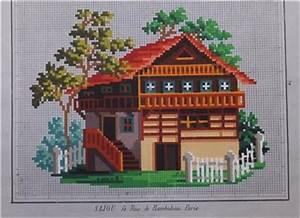 Le Chalet Berlin : antique hand painted berlin woolwork pattern swiss cottage chalet design ebay ~ Frokenaadalensverden.com Haus und Dekorationen