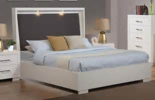stylish 5 pc white king platform bed w led headboard