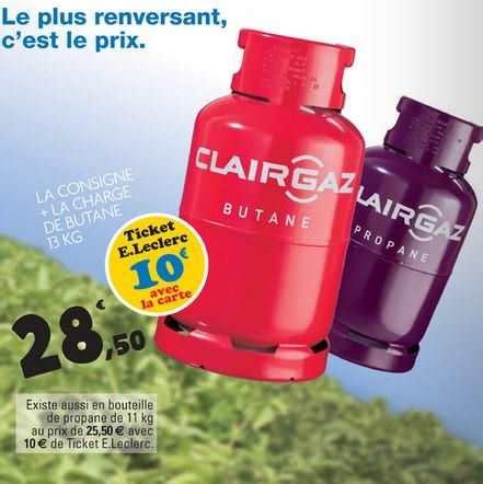 leclerc bouteille de gaz clairgaz consigne 224 28 50 avec 10 sur la carte de fid 233 lit 233