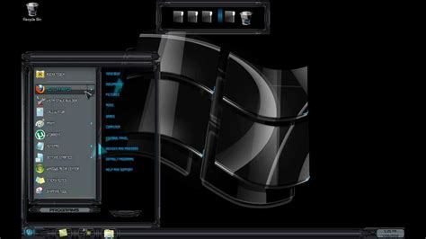 windows  theme black glass tema  windows  black