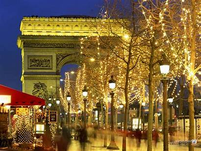 Paris France Arc Triomphe Wallpapers Lights Christmas