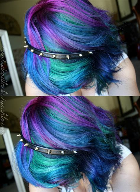 Purple Blue Mixed Dyed Hair Hair Color Hair Hair Vanity