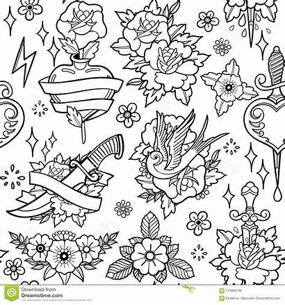 Tattoo Traditional Coloring Pattern Graphic Arts Grafisch