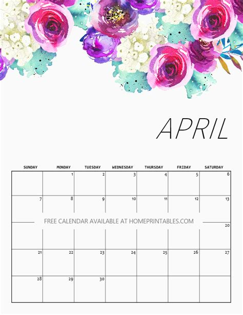 printable april calendar home printables