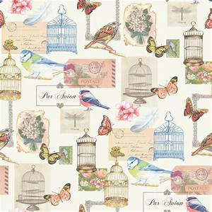Muriva Birdcage Bird Butterfly Flowers Postcard Wallpaper ...