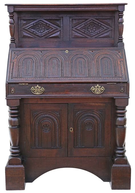 table bureau georgian carved oak bureau desk writing table antiques atlas