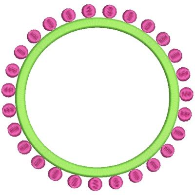 preppy circle dots monogram  font frames embroidery designs