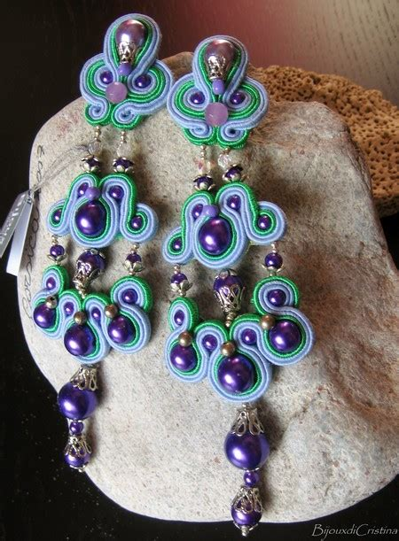 handmade italian thousand pearl soutache earrings
