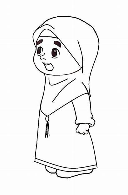 Kartun Gambar Mewarnai Muslimah Hijab Muslim Hitam