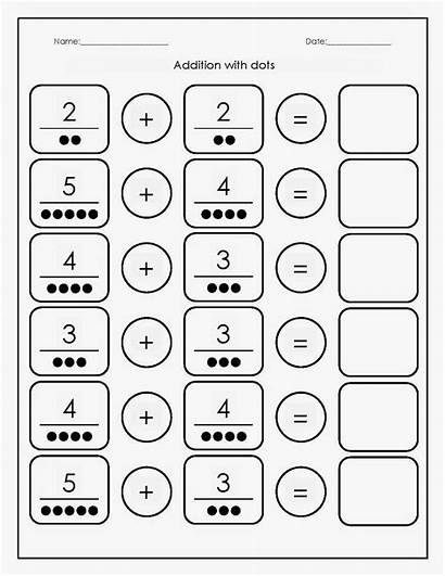 Addition Kindergarten Worksheets Math Printable Maths Dots