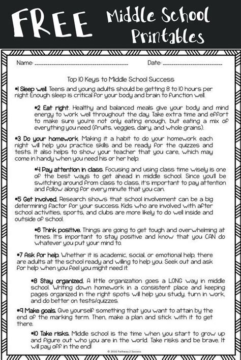 free middle school worksheets perfect for kids heading to middle school or to use in advisory