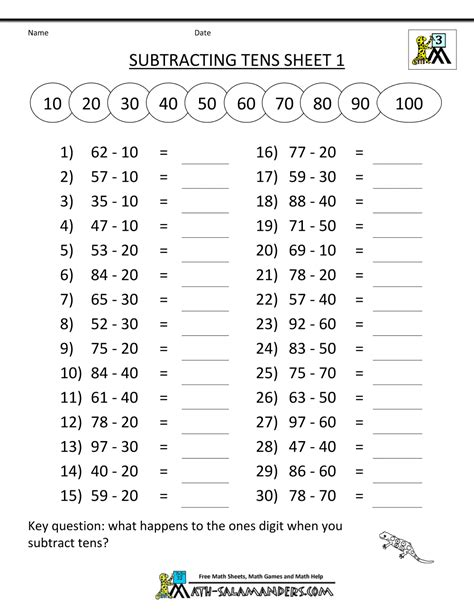 third grade subtraction worksheets mental subtraction