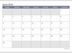 Calendario aprile 2018 da stampare iCalendarioit