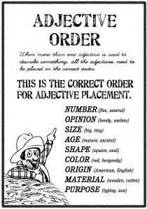 Adjective Order Worksheets
