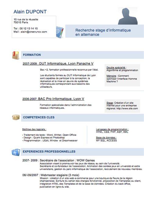 Cv Francais Exemple Gratuit by Modele Cv Gratuit Etudiant Diy Mod 232 Le Cv Gratuit Cv