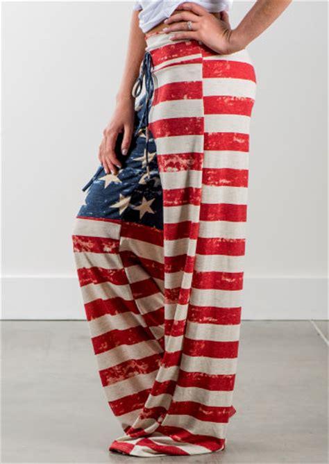 american flag drawstring wide leg pants fairyseason