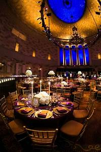 Reception Décor Photos - Gotham Hall Purple & Gold Wedding