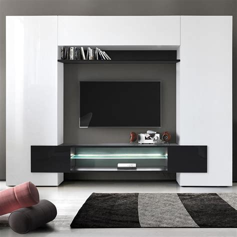 meuble mural tv blanc et noir laque sofamobili