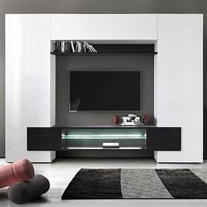 Meuble Tv Mur : meuble mural tv blanc et noir laque sofamobili ~ Teatrodelosmanantiales.com Idées de Décoration