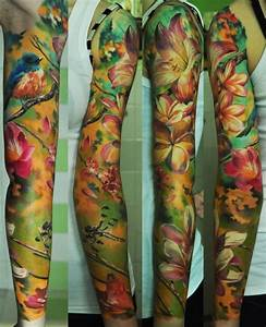 Flower Painting tattoo sleeve idea | Best Tattoo Ideas Gallery