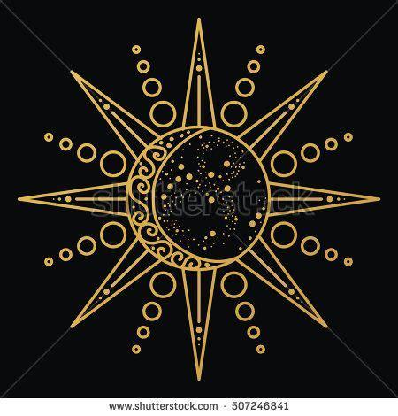 sun  moon logo astronomical icon astrological symbol