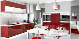Modele De Cuisine Moderne : modele de cuisine moderne rouge ~ Melissatoandfro.com Idées de Décoration