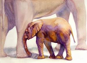 Mom And Baby Boy Elephants Painting by Bonnie Rinier