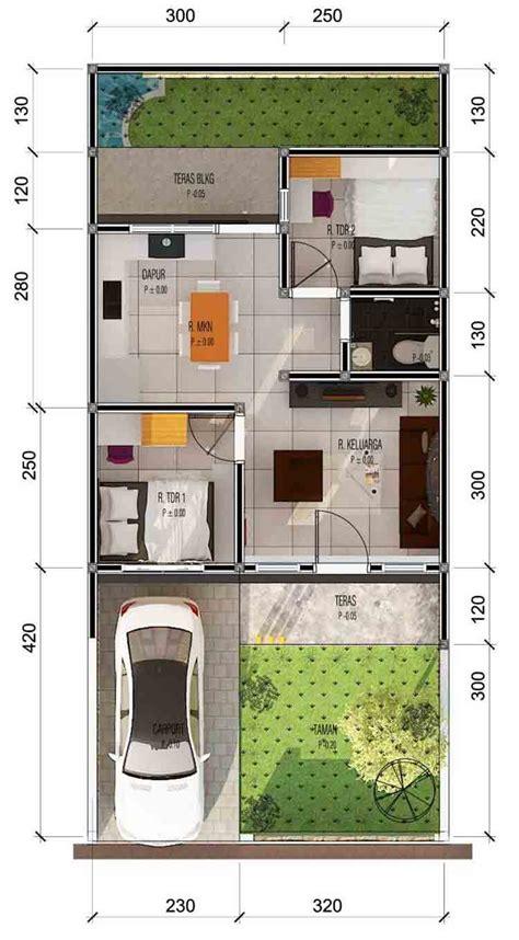 30 denah dan desain rumah minimalis type 36 1 2 lantai